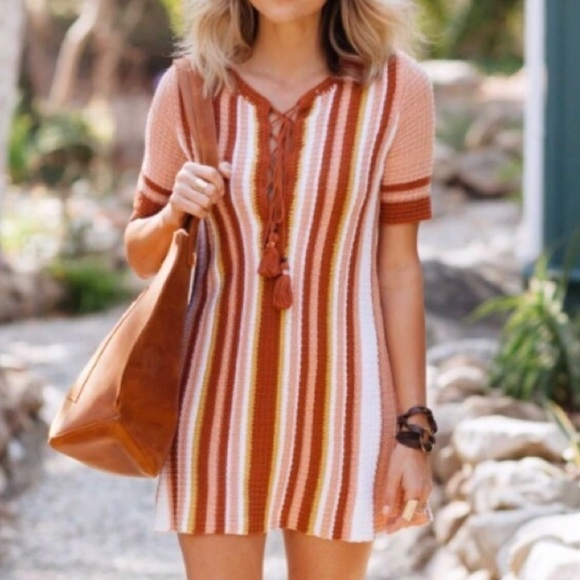 Free People Dresses & Skirts - Lollipop Knit Lace-Up Sweaterdress